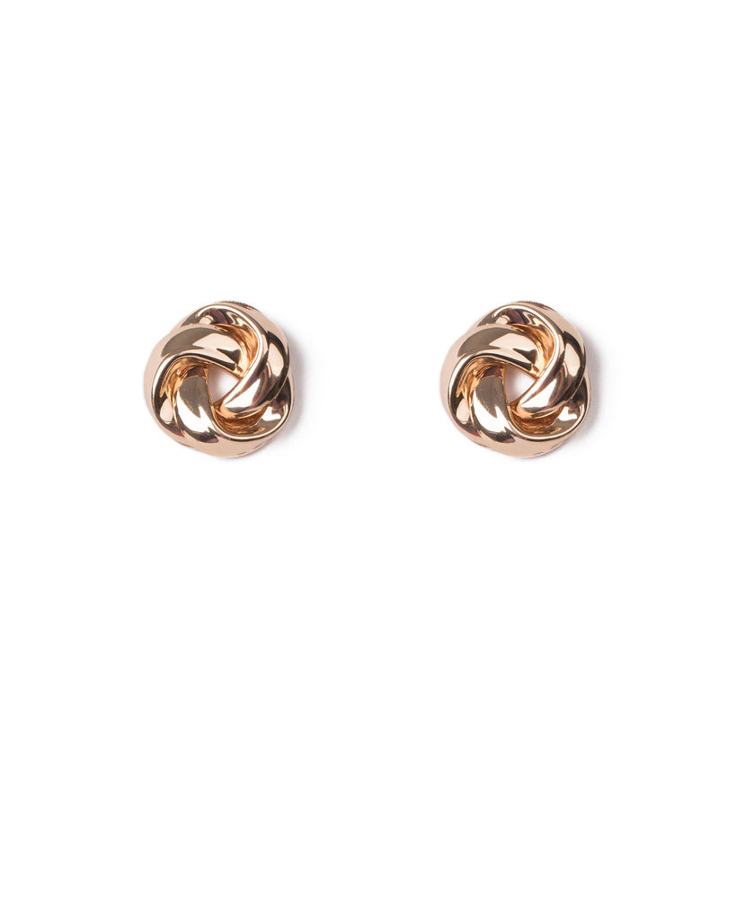 Gold Tone Large Knot Metal Stud Earrings
