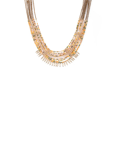 Multi Colour Gold Tone Beaded Multi Row Statement Necklace