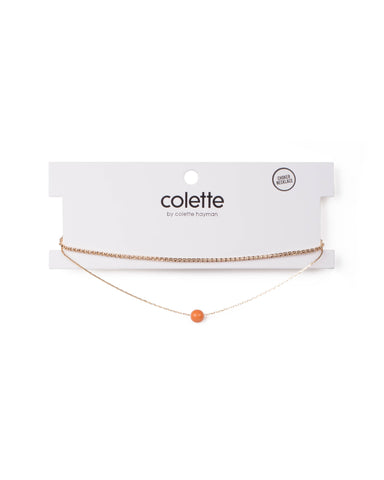 Orange Gold Tone Pearlised And Diamante Choker Set