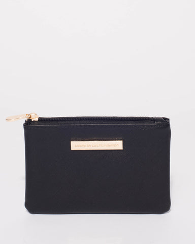 Black Sia Coin Purse With Gold Hardware