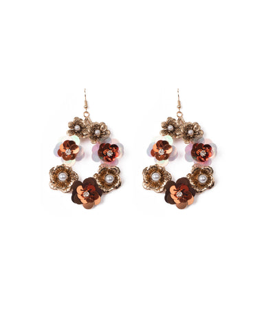 Multi Colour Gold Tone Floral Statement Drop Earring