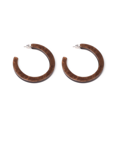 Brown Silver Tone Multi Layer Acrylic Hoop Earring