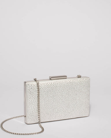 White Diamante Hardcase Clutch Bag With Silver Hardware