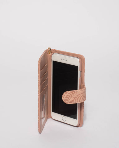 Pink Embossed Iphone 6, 7 & 8 Plus Purse