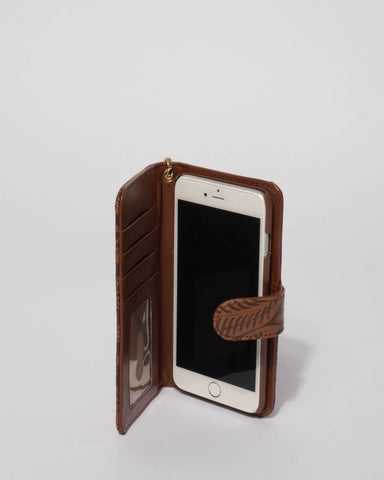 Brown Embossed Iphone 6, 7 & 8 Plus Purse