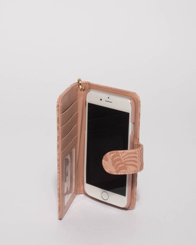 Pink Embossed Iphone 6, 7 & 8 Purse