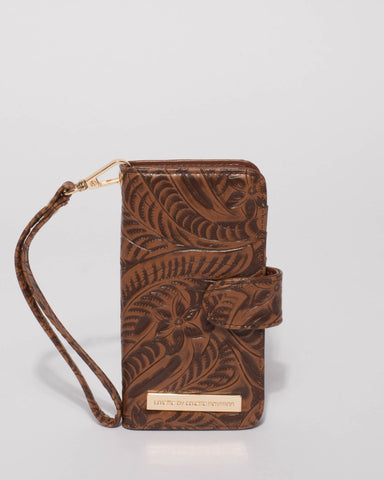 Brown Embossed Iphone 6, 7 & 8 Purse