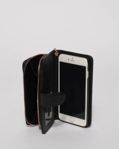 Black Iphone 6, 7 & 8 Plus Zip Purse