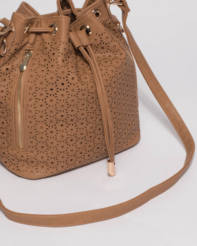 Caramel Giselle Design Pouch Bucket Bag