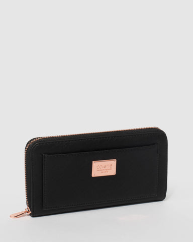 Black Tarryn Wallet With Rose Gold Hardware