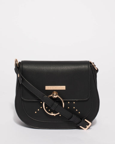 Black Ally Stud Saddle Crossbody Bag