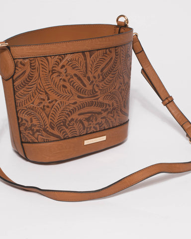 Tan Embossed Clara Shoulder Bag