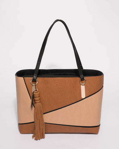 Tan Angelina Panel Tote Bag
