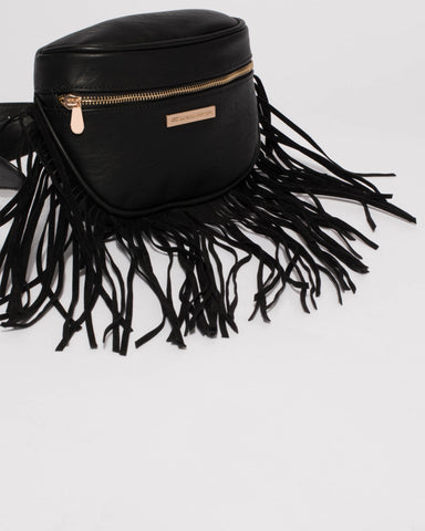 Black Fringe Belt Bag