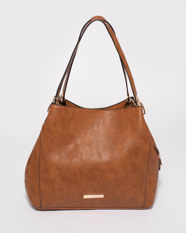 Tan Mary Slouch Tote Bag