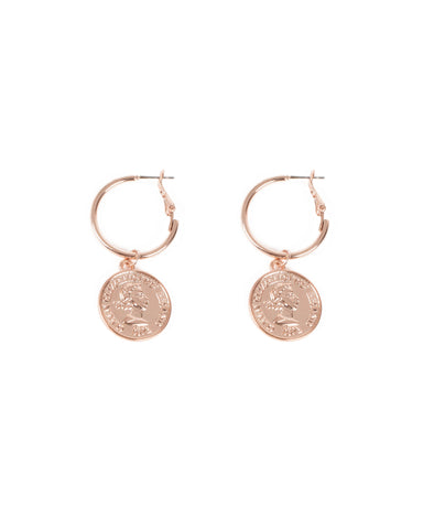 Rose Gold Tone Hoop With Drop Coin Earrings