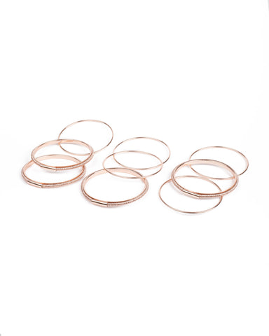 Rose Gold Tone Thread Bangles Wristwear Pack