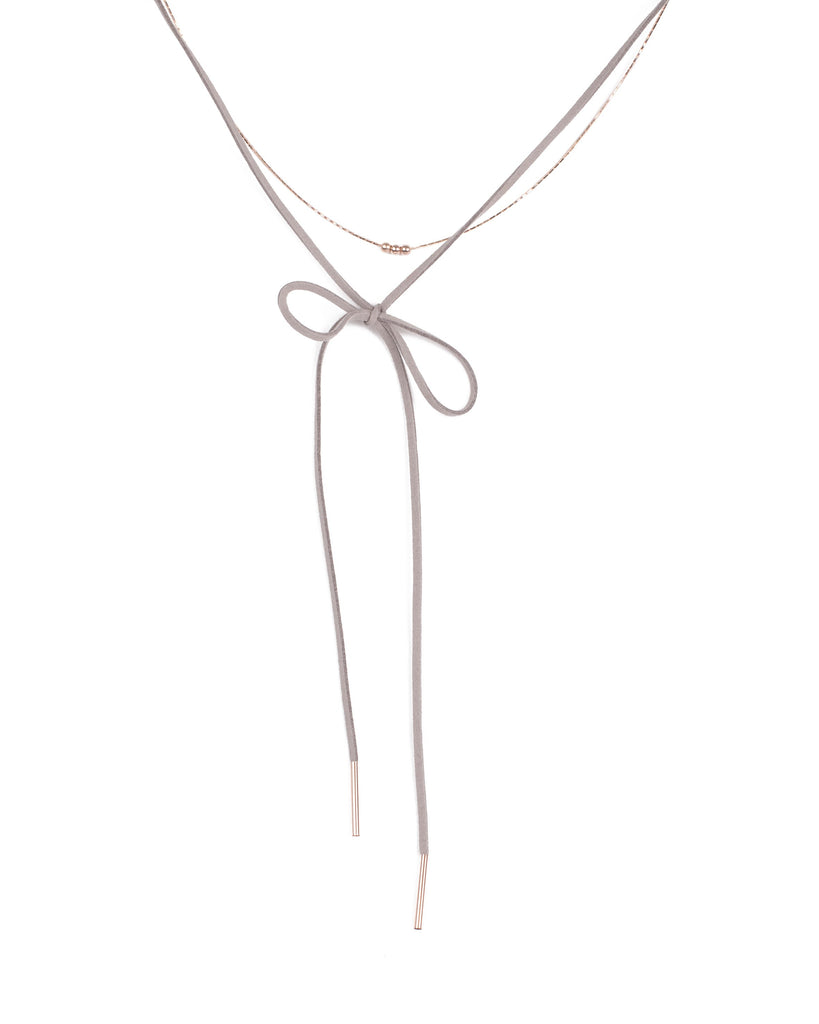 Grey Rose Gold Tone Fine Choker With Rope Necklace