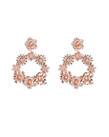 Crystal Rose Gold Tone Floral Drop Hoop Earrings