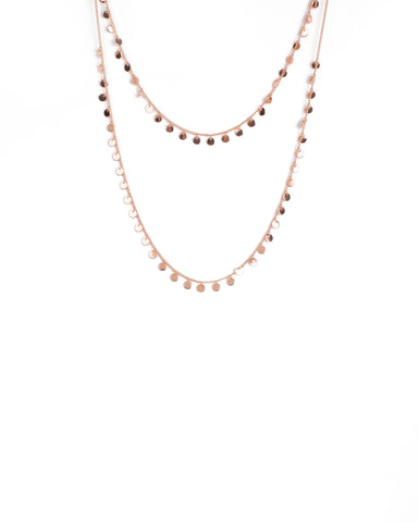 Rose Gold Tone Two Row Disc Necklace