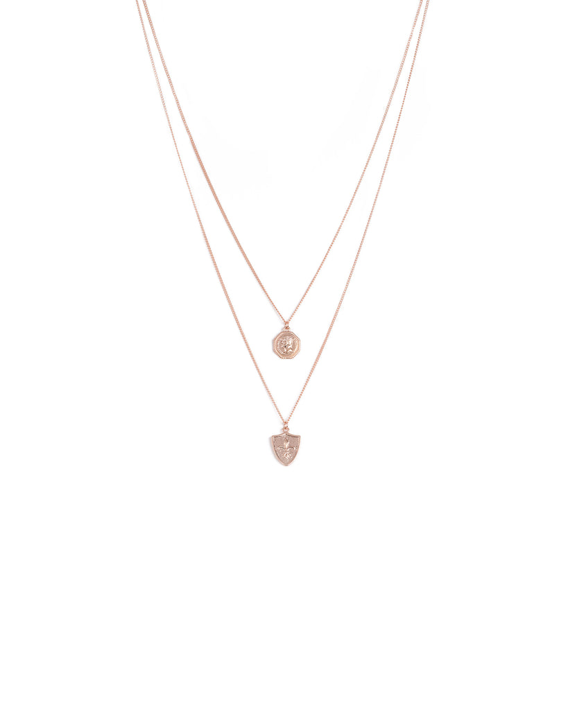 Rose Gold Tone Double Layer Pendant Necklace