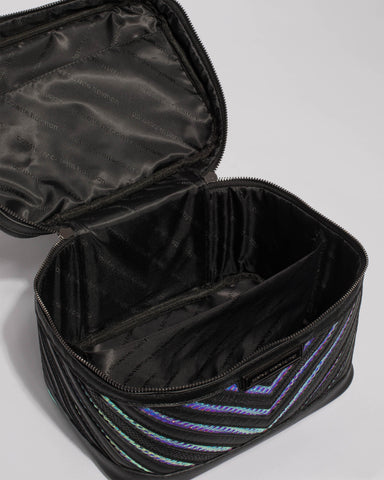 Black Hologram Textured Limited Edition Cosmetic Case