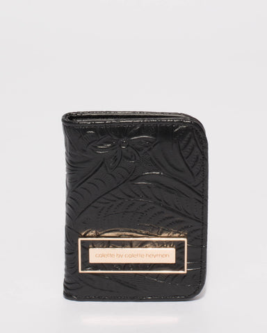 Black Embossed Elsie Credit Card Purse