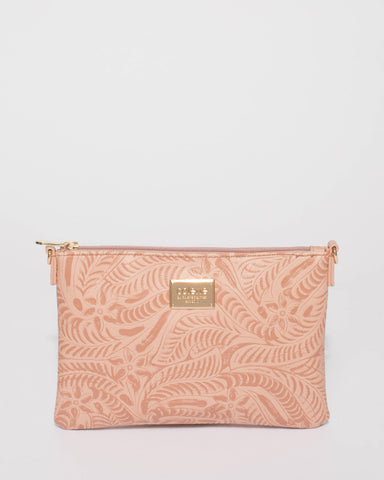 Pink Embossed Peta Chain Crossbody Bag
