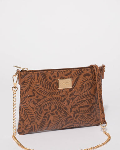 Tan Embossed Peta Chain Crossbody Bag