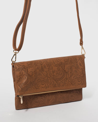 Tan Meg Punchout Fold Clutch Bag