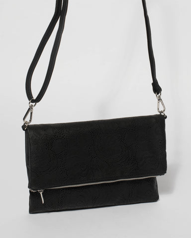 Black Meg Punchout Fold Clutch Bag