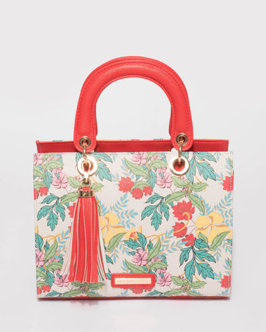 Red Ella Tassel Tote Bag