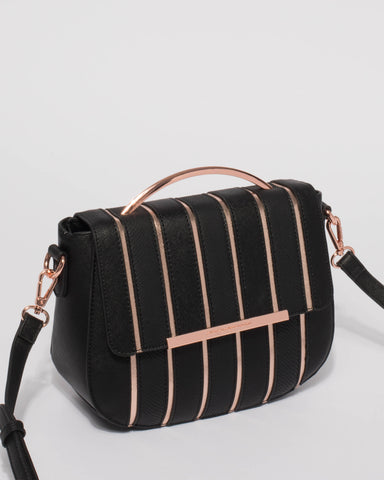 Black Rose Gold Addie Panel Crossbody Bag