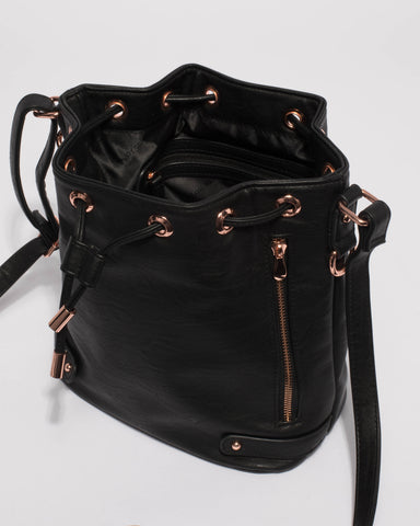 Black Giselle Tab Pouch Bucket Bag