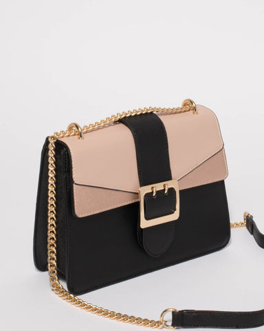 Black Rose Gold Rachel Buckle Crossbody Bag