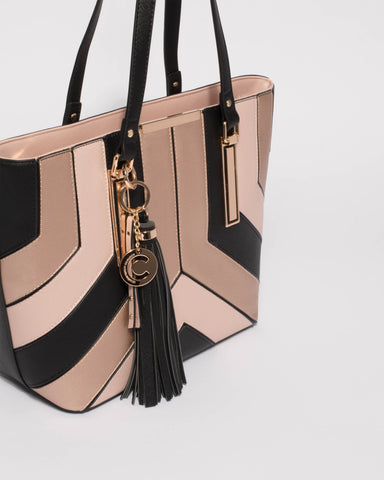 Rose Gold Tegan Panel Tote Bag