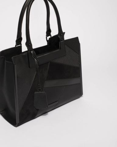 Black Emma Panel Luxe Tote Bag