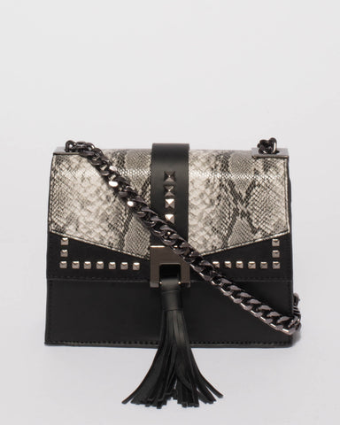 Black Snake Ciara Stud Crossbody Bag