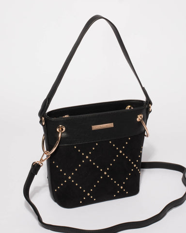 Black Remy Embellished Bucket Tote Bag