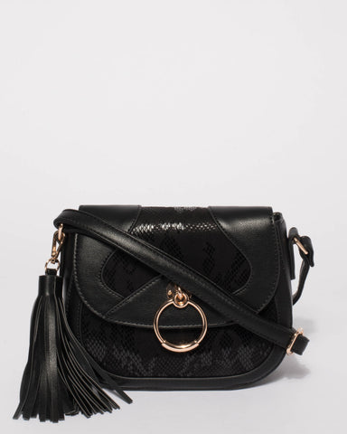 Black Amelia Panel Saddle Bag