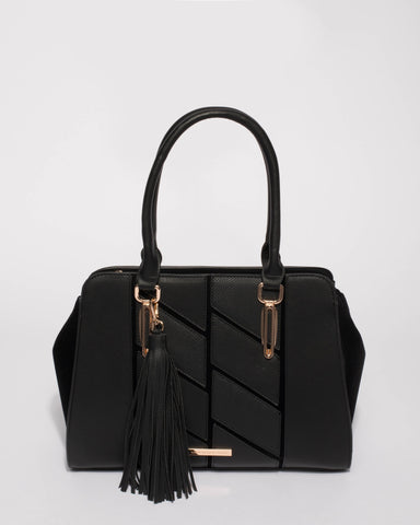 Black Gwen Large Panel Tote Bag