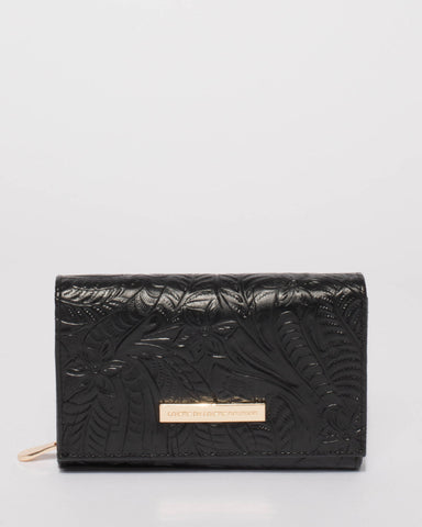 Black Embossed Dana Multi Pocket Wallet