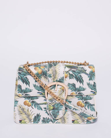 Tropical Print Rachel Belt Buckle Crossbody Bag