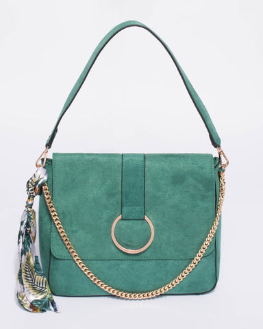 Green Leah Chain With Scarf Tote Bag