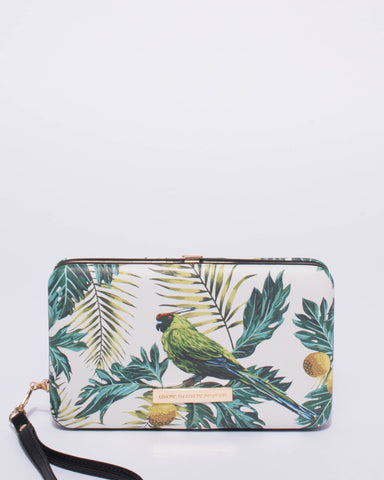 Grey Tropical Print Eve Hardcase Wallet
