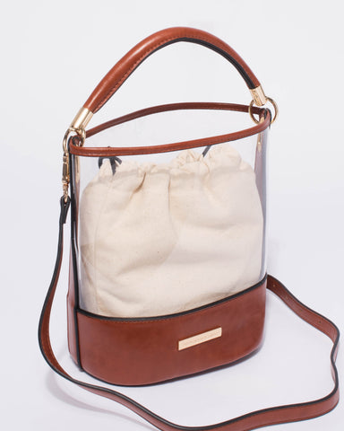 Brown Bella Clear Bucket Crossbody Bag