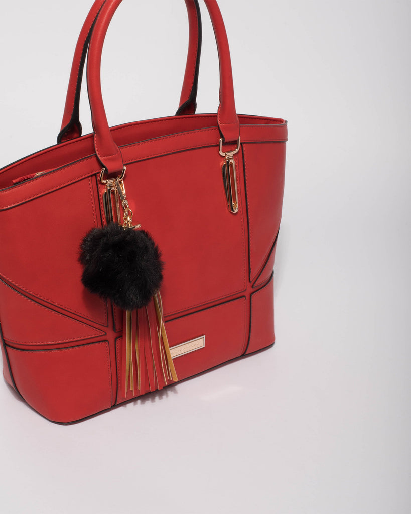 Red Nicole Multi Panel Tote Bag