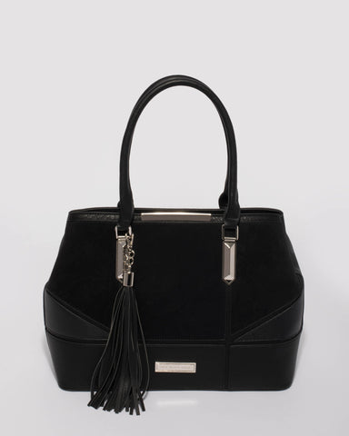 Black Abby Panel Shoulder Tote Bag