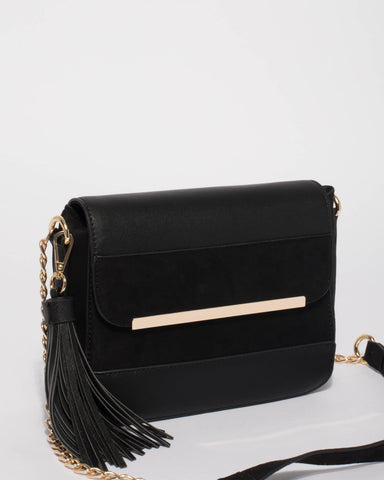 Black Madeline Panel Crossbody Bag