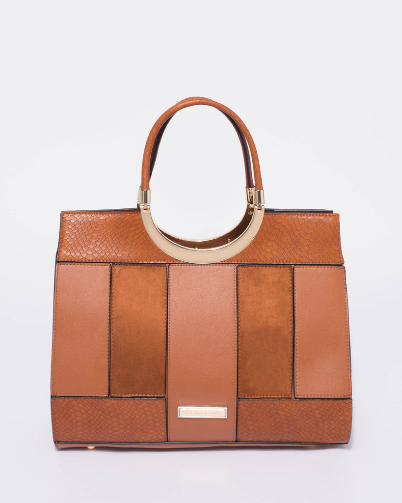 Tan Madeline Tote Bag With Gold Hardware